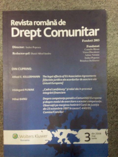 Revista Romana de Drept Comunitar Nr. 3/2008, Autor colectiv