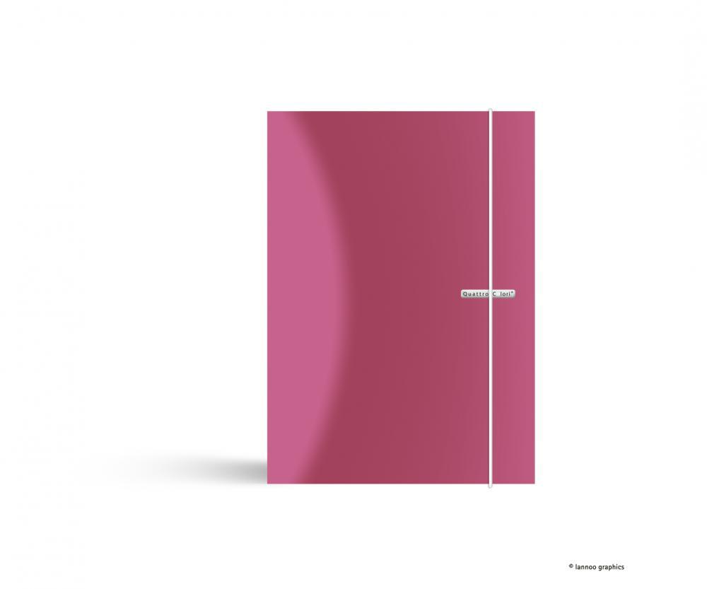 zzMapa cu elastic QuattroColori,PP,A4,roz