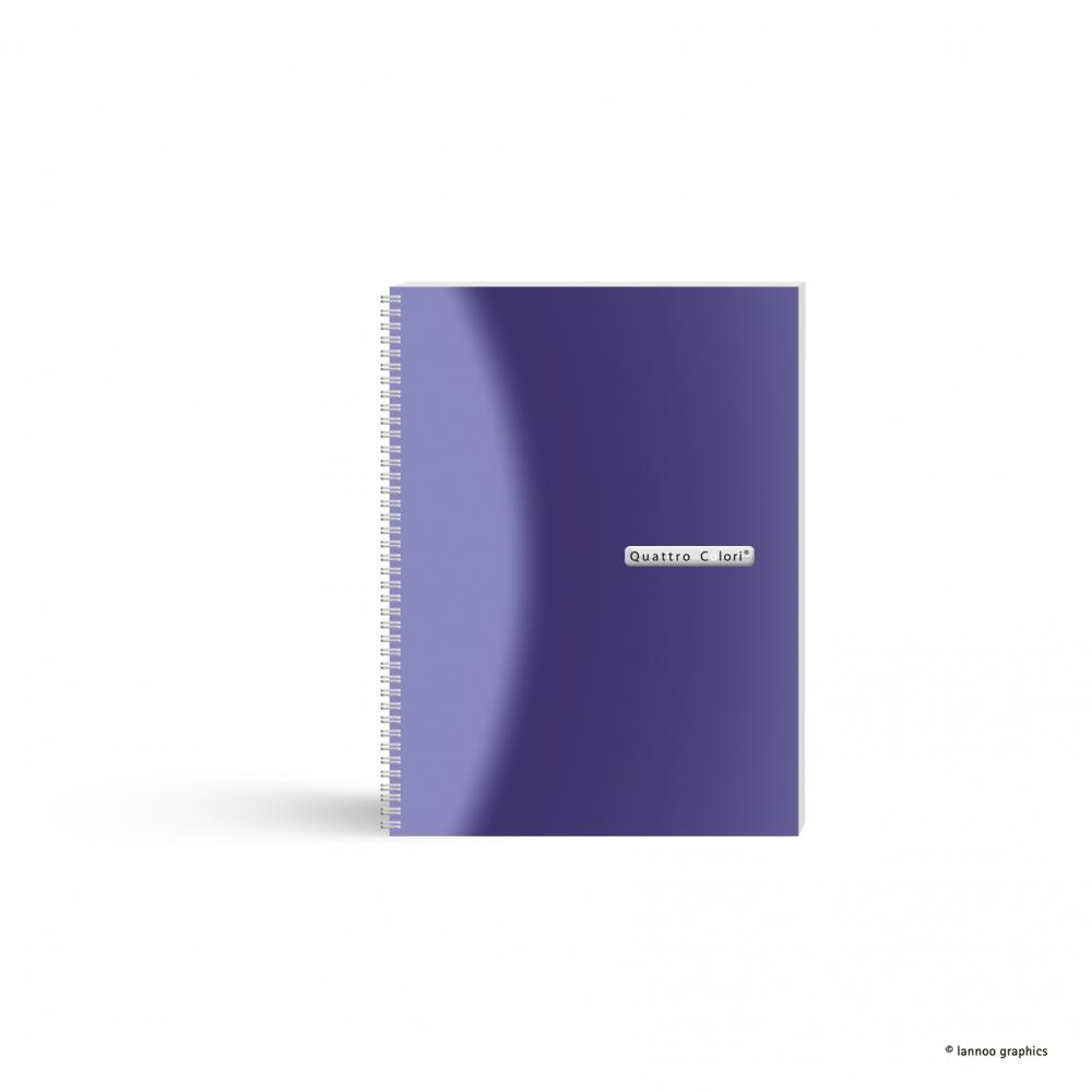 Caiet spira, A5, 120 file, QuattroColori, violet