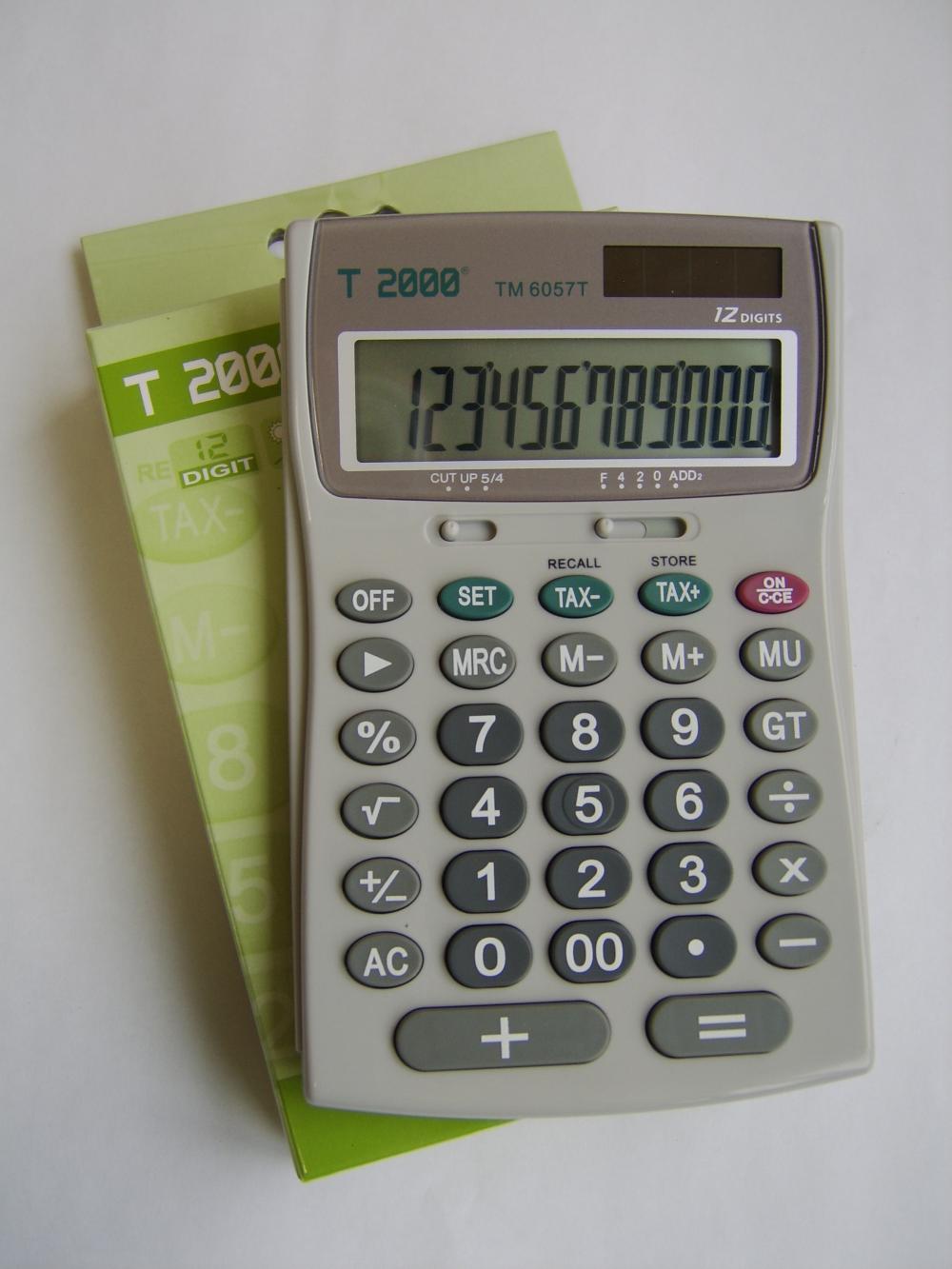 Calculator birou T2000, 12 dig, TAX, gri