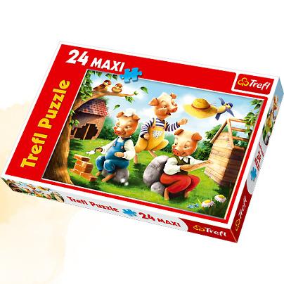 Maxi puzzle Cei trei purcelusi, 24 piese