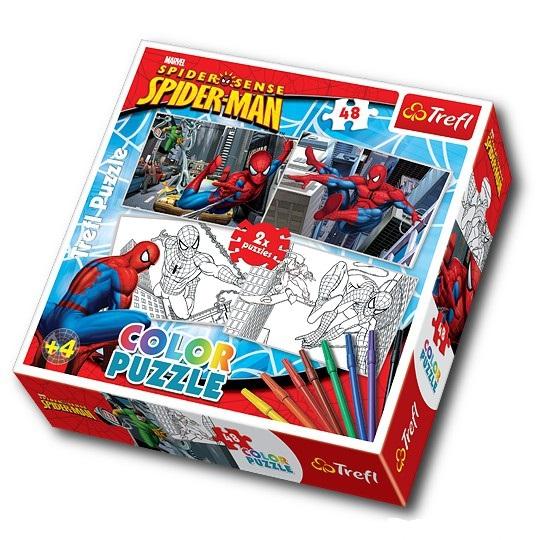 Puzzle Spiderman De Colorat 2 Imagini