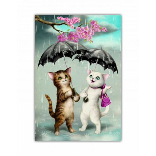 Caiet A5 cusut Raining Cats