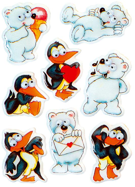 zzSticker Magic Pinguini si ursi polari cu ochi miscatori