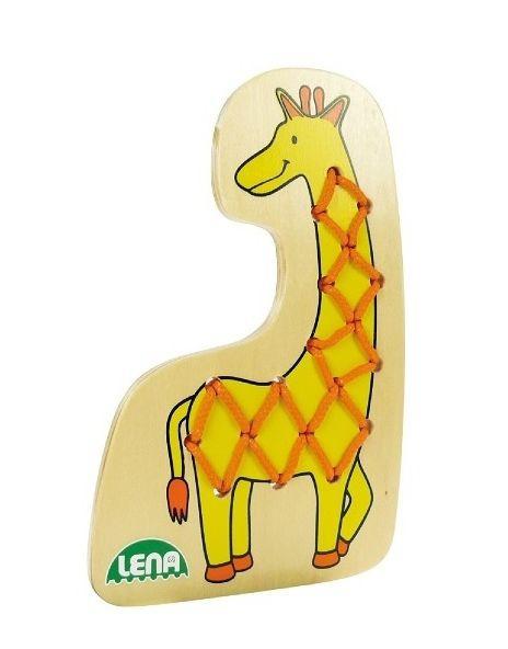 Puzzle de lemn cu snur-girafa