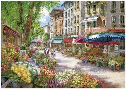 Puzzle Paris, piata cu flori
