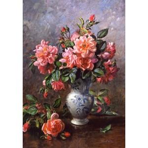 Puzzle 1000 Trandafiri in vaza  portelan