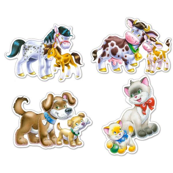 Puzzle 4+5+6+7 Animale cu pui