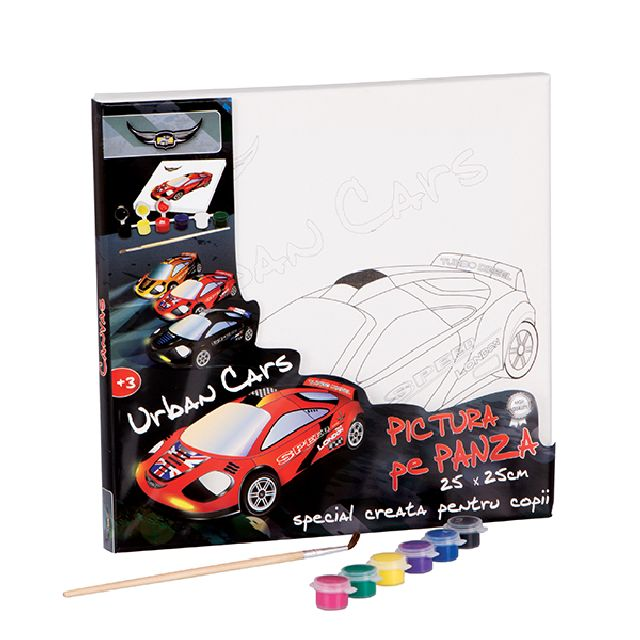 Set pictura pe panza 25x25cm, Urban Cars