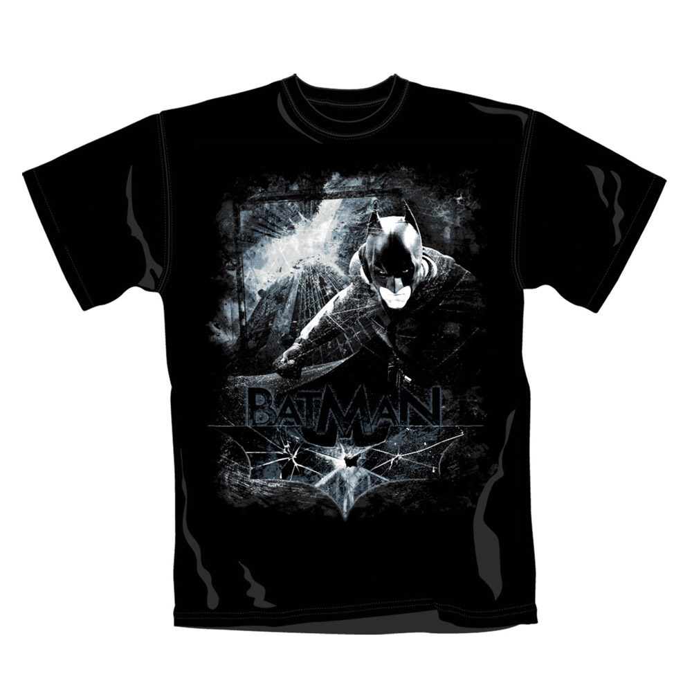 Batman T-Shirt Distressed Scene L