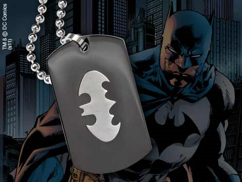 Batman Steel Pendant with Chain Black Lg