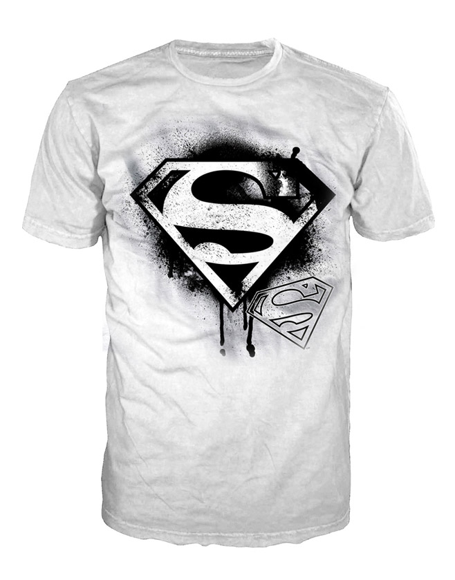 Superman T-Shirt Black Logo Size L