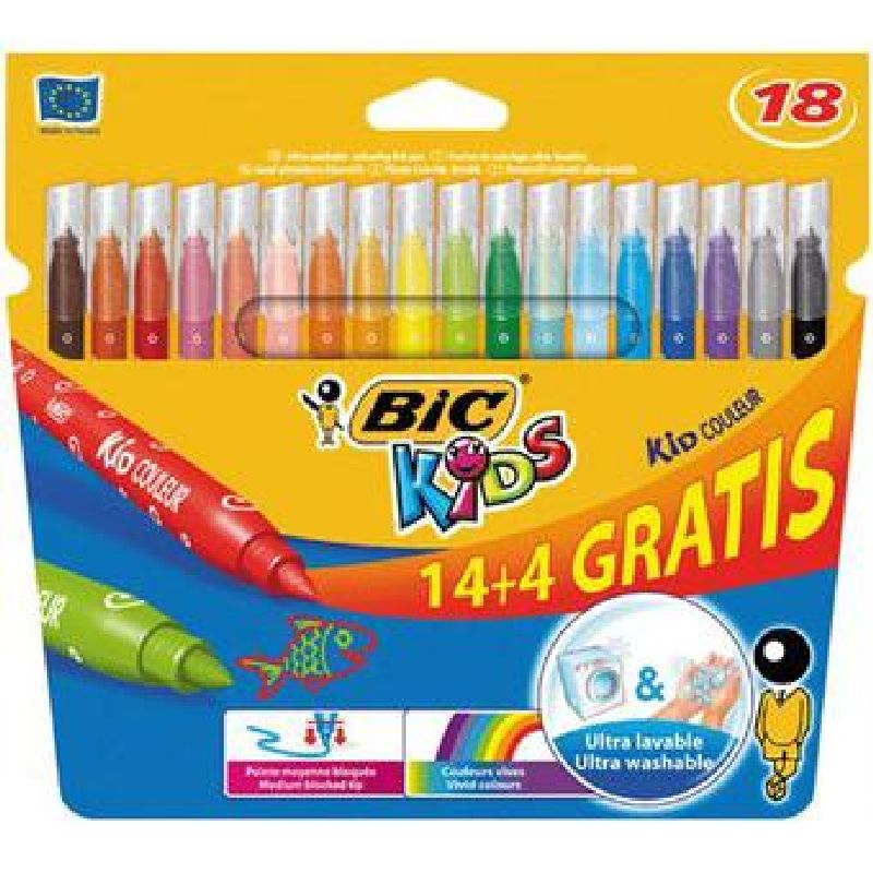 Markere pt copii,14+4b/s,Bic KidCouleur