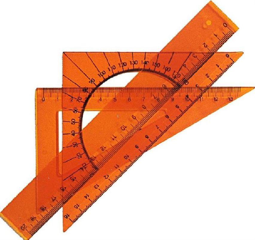 Set geometrie,4elemente(rigla20cm),transp.