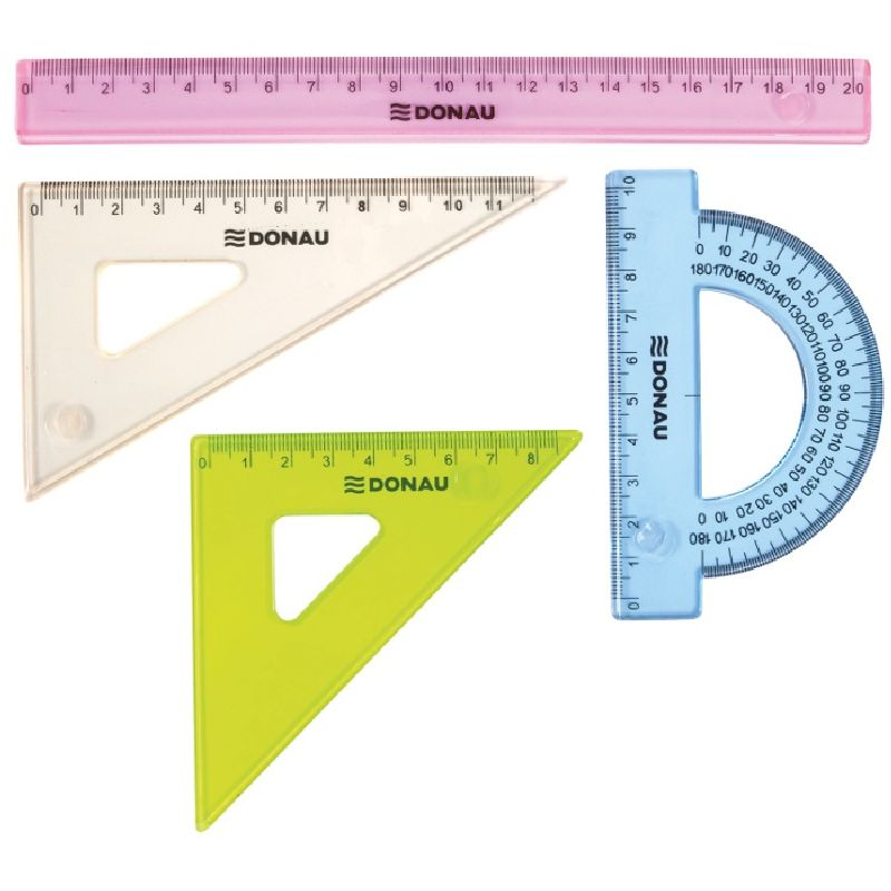 Set geometrie,4elemente(rigla20cm),color