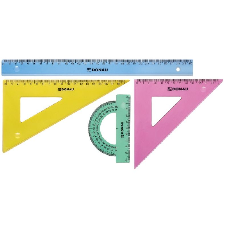 Set geometrie,4elemente(rigla30cm),color