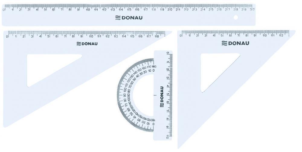 Set geometrie,4elemente(rigla30cm),transp.