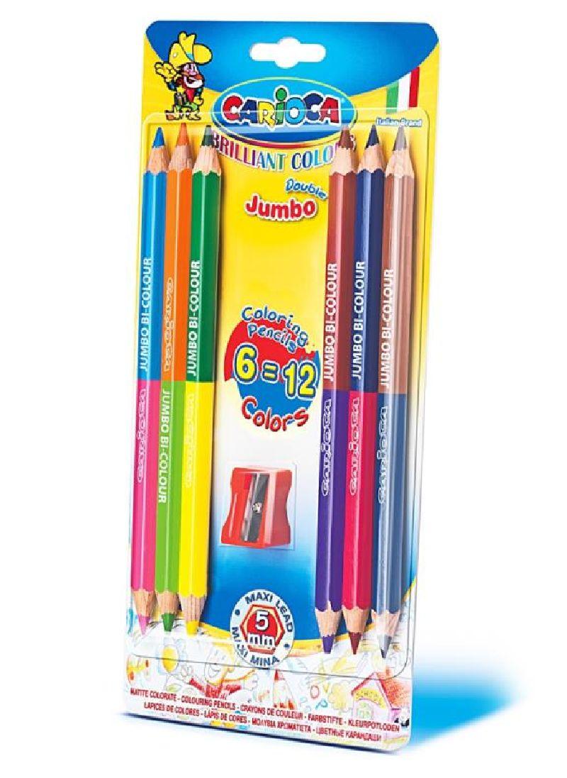 Creioane colorate,6buc,2cap,Carioca Jumbo