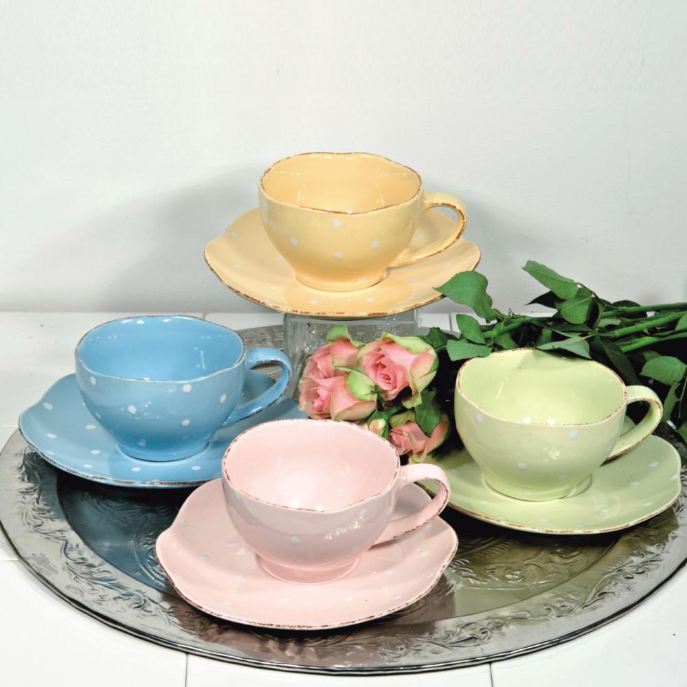 Set ceasca si farfurie ceai,4culori