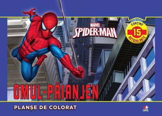 PLANSE DE COLORAT SPIDER-MAN. CONTINE 15 AUTOCOLANTE