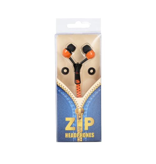 Zip Style Earphones - Orange/B