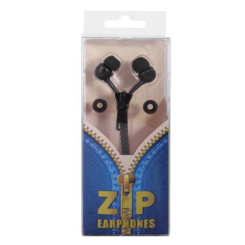 Zip Style Earphones - Black