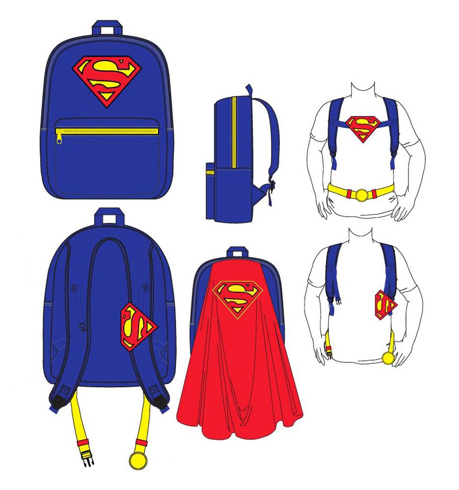 Superman Backpack Big Logo & Cape