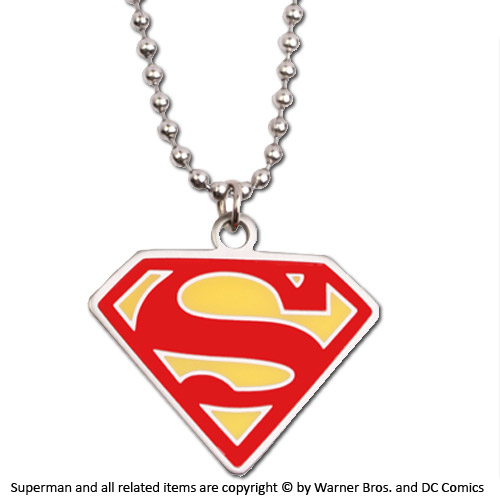 Superman Pendant with Chain Pink Logo