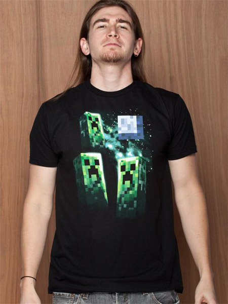 Minecraft T-Shirt Three Creeper Moon Size M