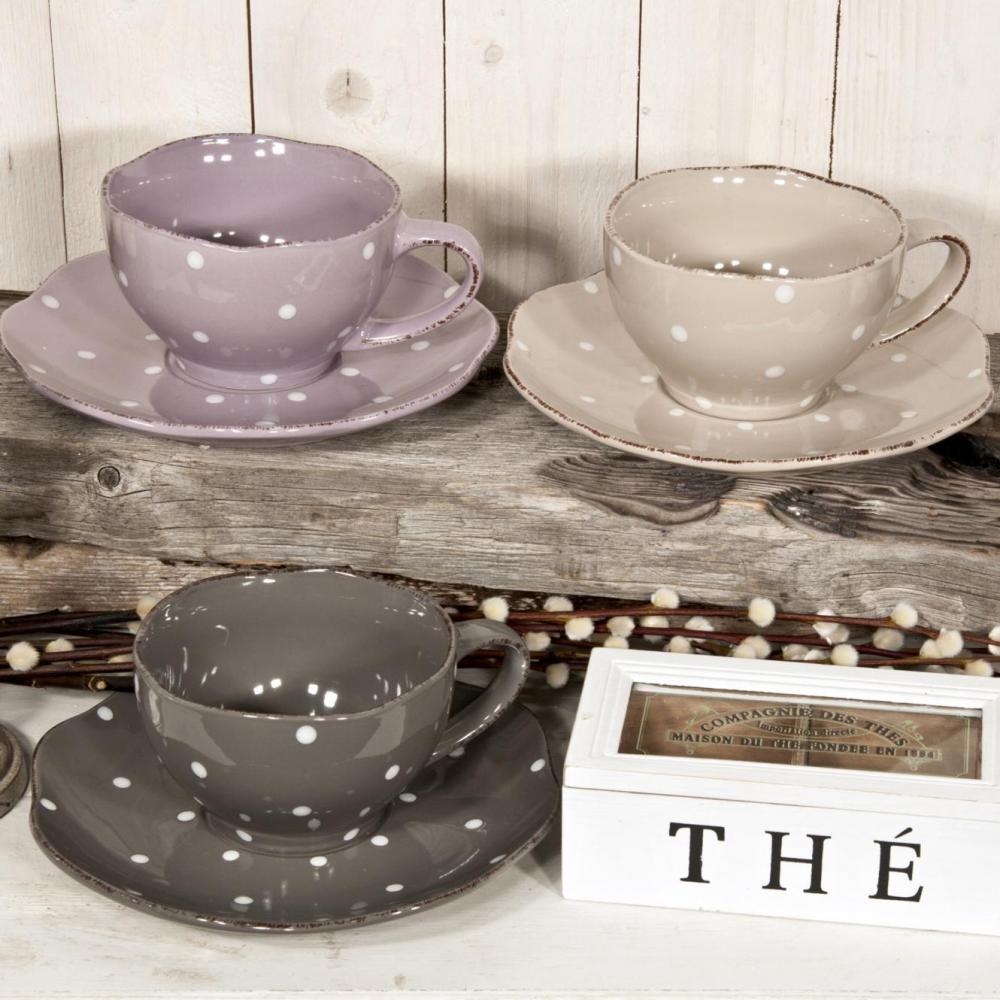 Ceasca si farfurie ceai Stina,gri/lila/crem