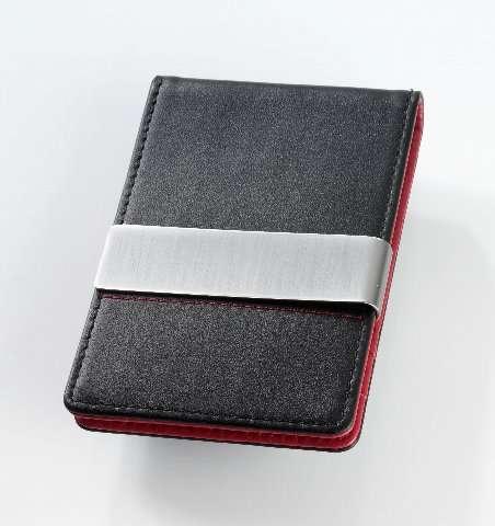 Suport carti credit,piele,negru/rosu