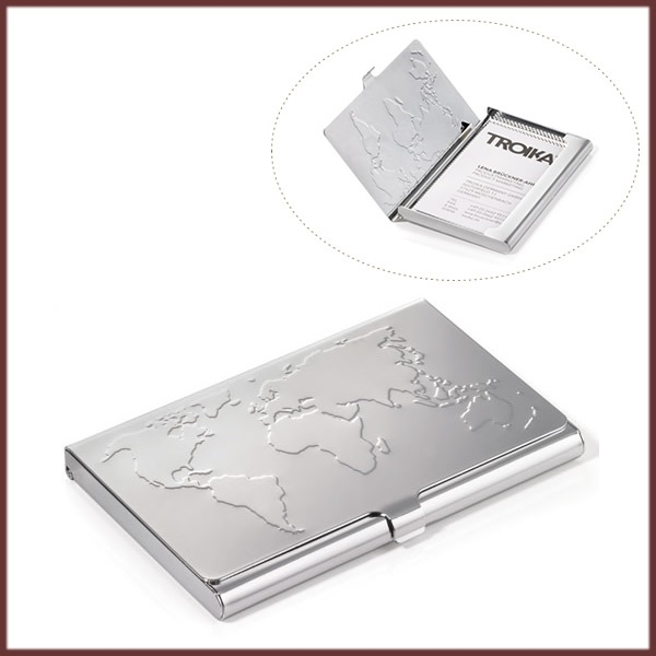 Suport carti vizita,aluminiu,World Map