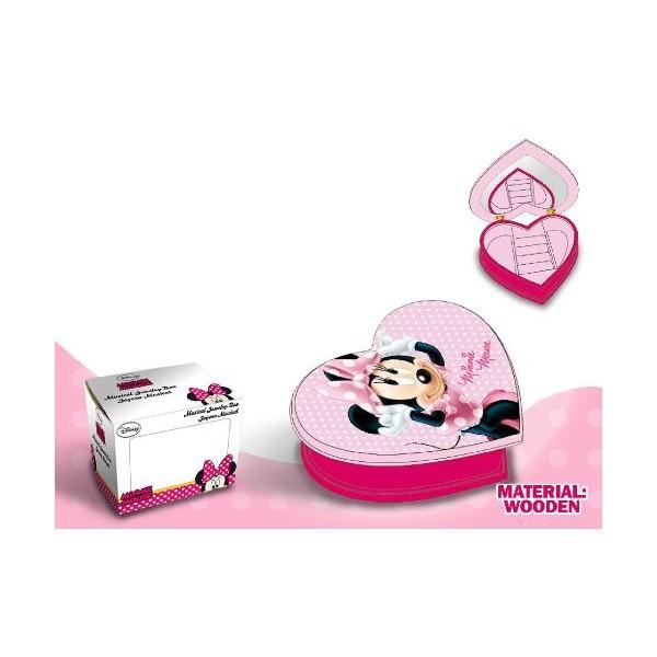 Caseta bijuterii,lemn,inima,roz,Minnie
