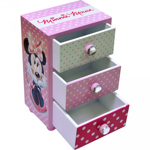 Mini comoda,lemn,3 sertare,roz,Minnie