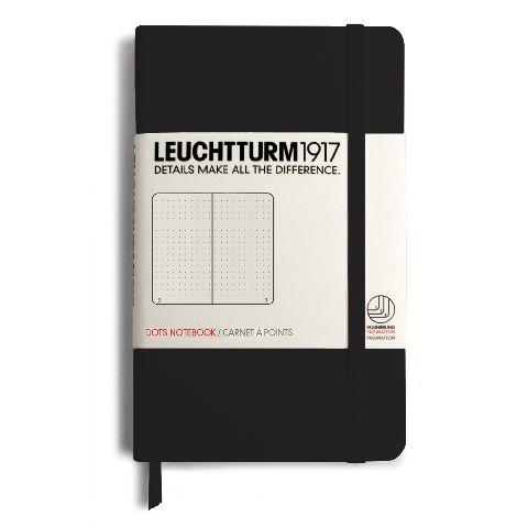 Caiet Leuchtturm A6,185f,punctat,negru