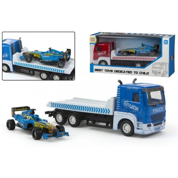 Camion pull-back cu masina de curse