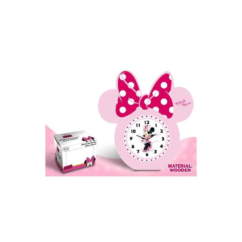 Ceas masa,rama lemn, funda roz, Minnie