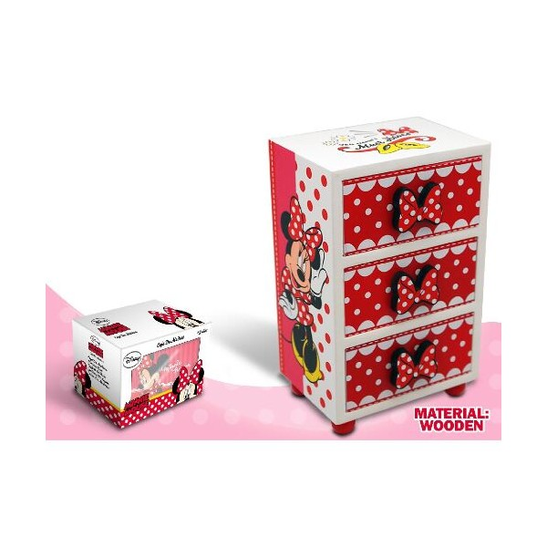 Mini comoda,lemn,3 sertare,rosu,Minnie