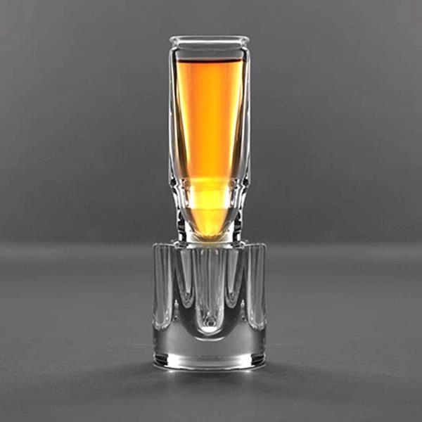 Pahar sticla glont,cu suport
