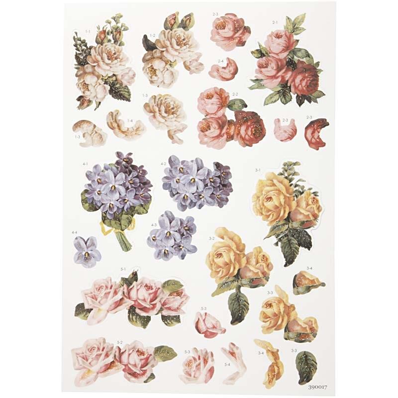 Stickere 3D,coala A4,trandafiri