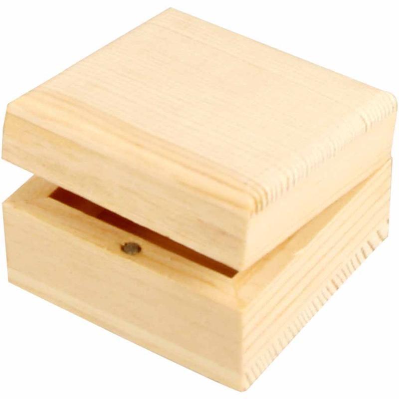 Cutie bijuterii,lemn,6x6x3,5cm