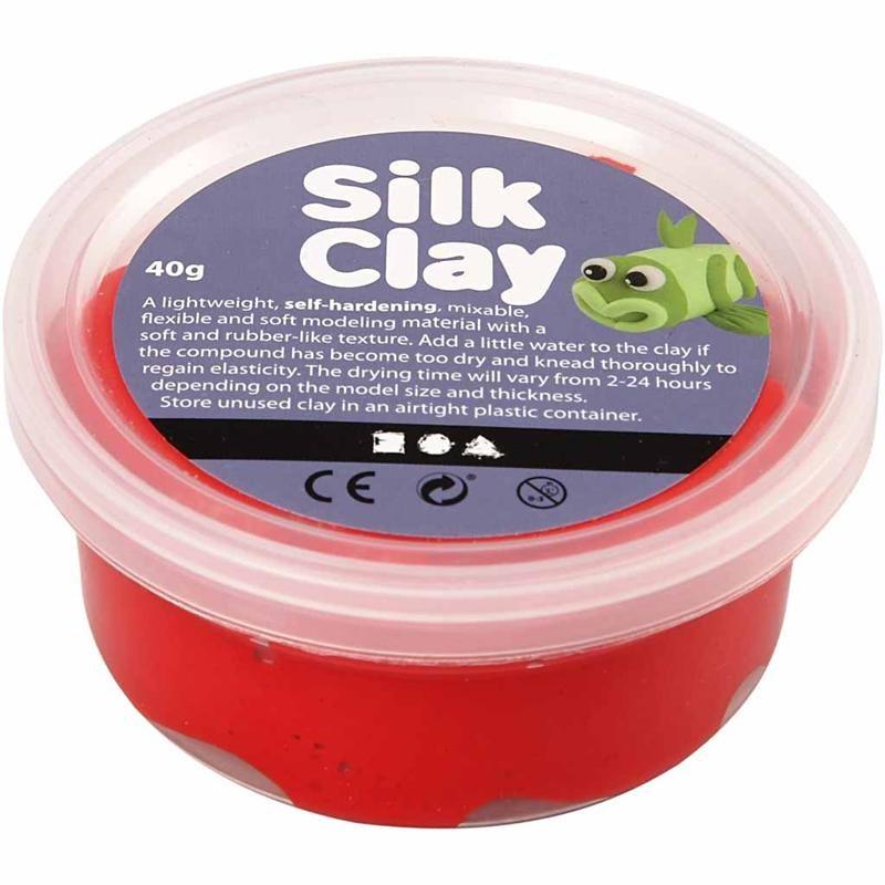 Pasta modelatoare Silk Clay,40g,rosu