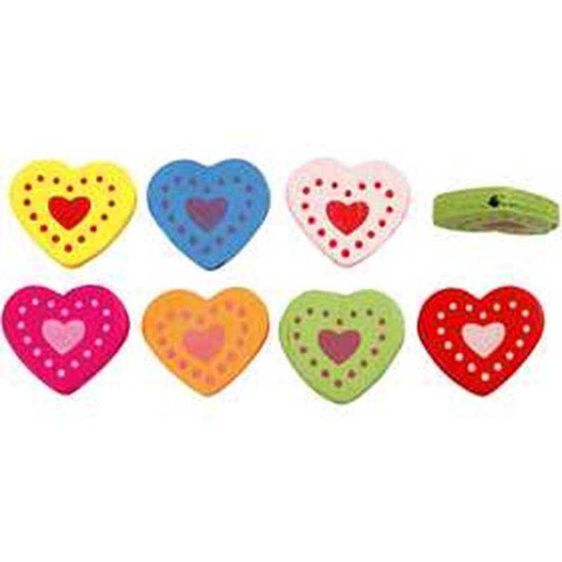 Margele lemn,2cm,inimi,7 culori,30 g/set