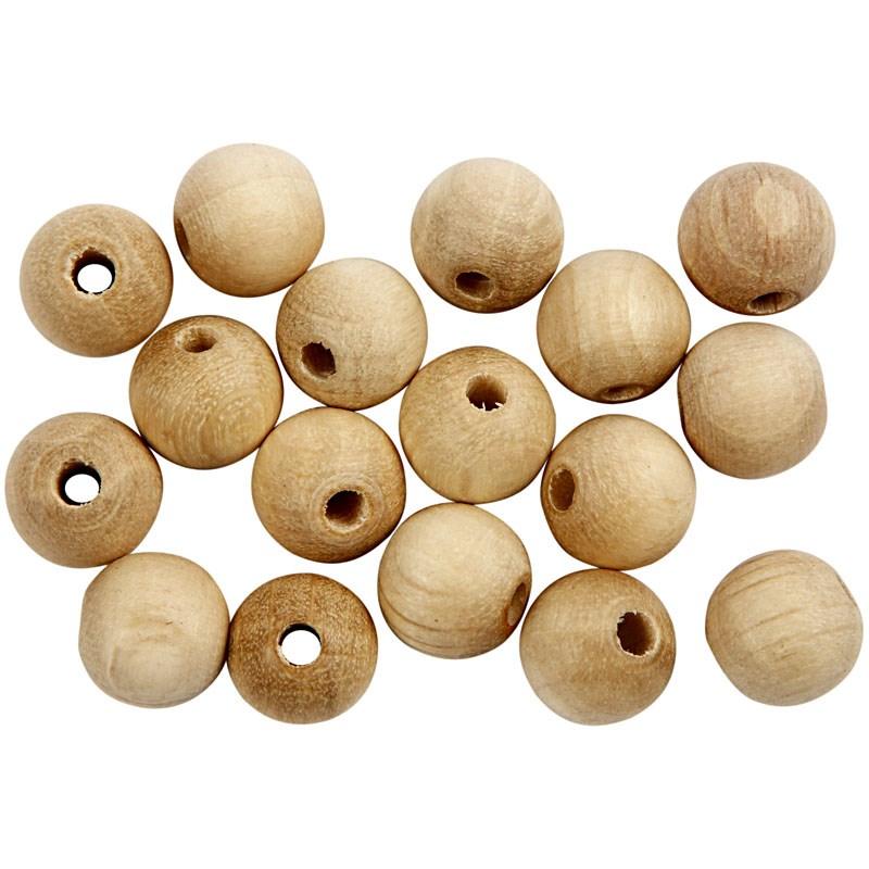 Margele lemn,8mm,rotunde,natur,40buc/set