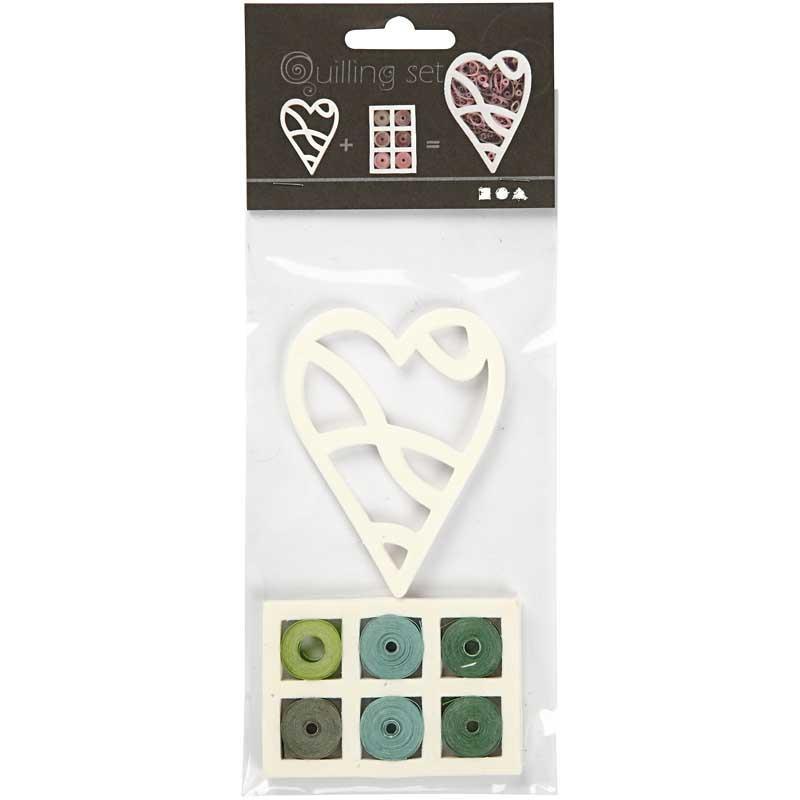 Set quilling,8,5x6.5cm,inima,blue/verde