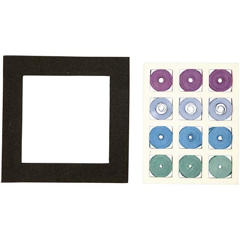 Set quilling,10x10cm,patrat,bleu/verde