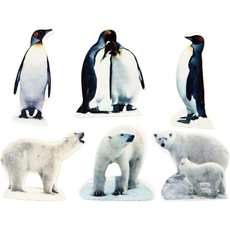 Figurine polare,lemn,35-50mm,6 buc/set