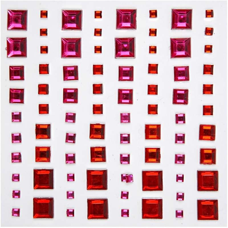 Pietre autoadezive,patrate,roz/rosu,80b