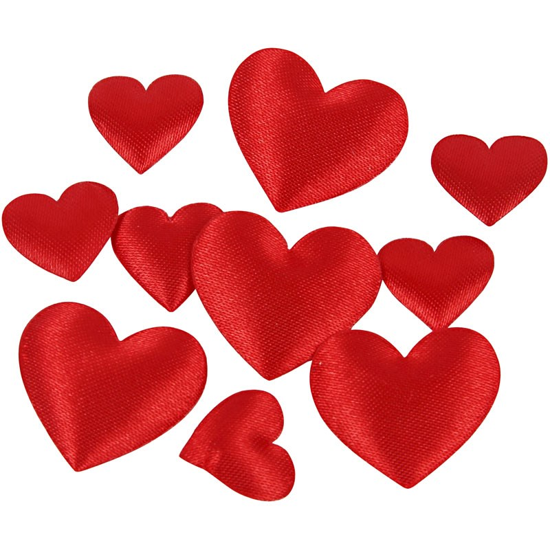 Inimi satin,vatuite,10/20mm,rosii,70 b/s