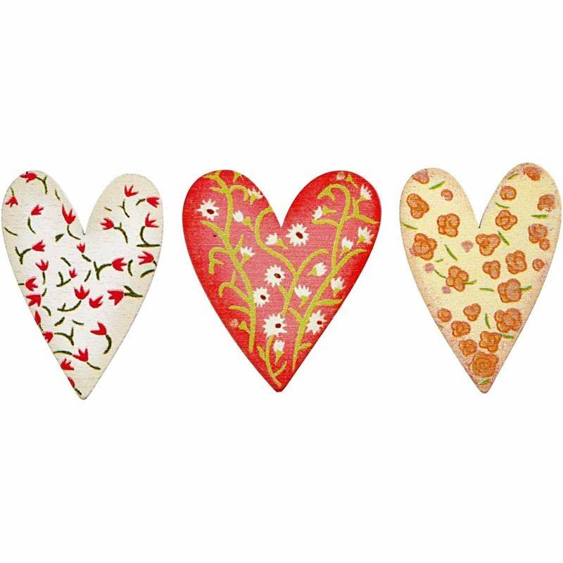 Inimi autoadezive,lemn,model floral,6b/s